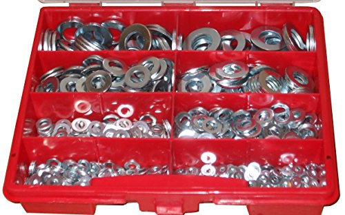1000 Stck verz. Unterlegscheiben M3 - M12, DIN125, Scheiben-Sortiment im Koffer