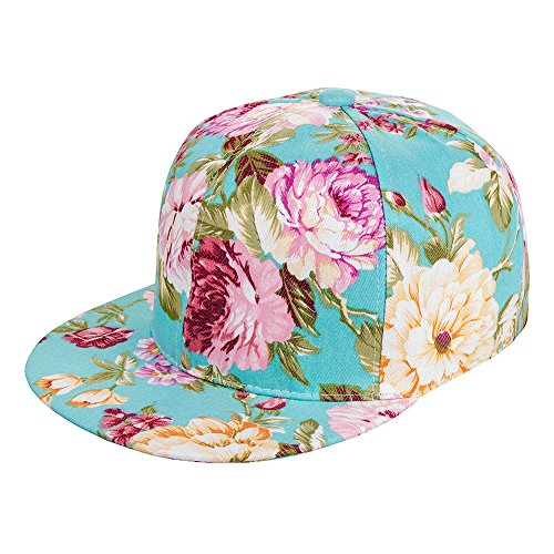 cappello-snapback-flower-blue-banana-turchese