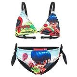 Miraculous LadyBug e Cat Noir - Costume 2 Pezzi Bikini con Fiocchetti Full Print Mare Piscina - Bambina - Novità Prodotto Originale 555-019 [Nero - 12 anni - 152 cm]
