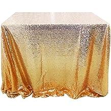 San Tungus® 177,8x 274,3cm Doré à Paillettes de Noël nappes, Tissu, doré, 70 x 108-Inch