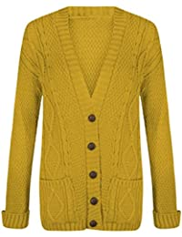 5eb996ff356abb Red Olives New Women's Ladies Long Sleeve Button Top Chunky Aran Cable  Knitted Grandad Cardigan UK