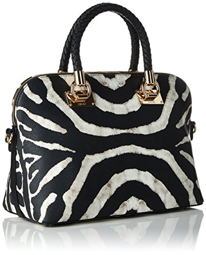 Liu Jo Damen Shopping Bag Schultertaschen, 32 x 25 x 16 cm Mehrfarbig (Black & white 03Q01)