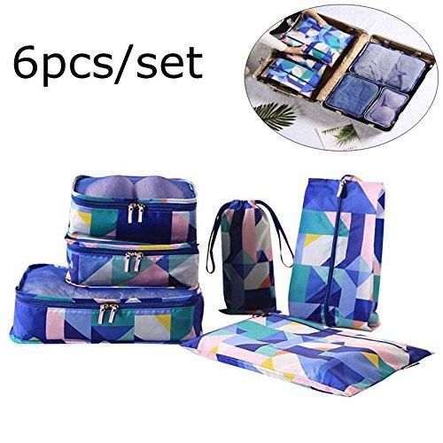 Pawaca 6Set Verpackung Cubes, Reise Aufbewahrungstasche Organizer Gepäck Kompression Beutel für Ihre Kleidung und Schuhe, Wasserdicht