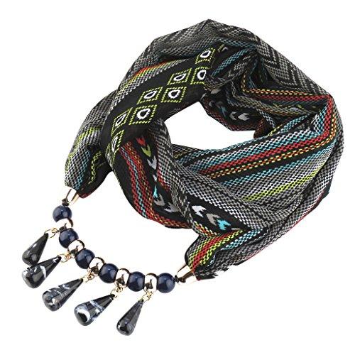 CADANIA Chiffon Schal Anhänger böhmischen Schmuck Halskette Ethno-Stil für Frauen - schwarz