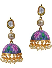 Elegant Lotus Shape Hand Painted Meenakari Kundan Pearl Pink Stone Gold Plated Brass Jhumki Earrings For Women