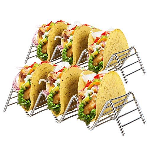 Soporte Para Tacos Mexicanos: 2 Bandejas Metálicas de Alambre Para Servir Tacos de Concha Blanda y Dura - Portatacos Aptos para Grill, Horno y Lavavajillas - Geniales para Fiestas Infantiles