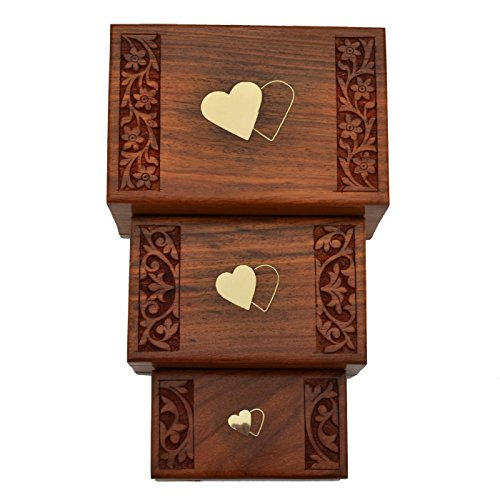 Raun Harman Gift Box di legno rettangolare con cuori Inlay e complicata scultura floreale [Set (Rettangolare Bracciali)