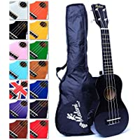 Best Black Soprano Ukulele with Bag, Great Fun for Adult Beginners and Children LOVE Ukuleles (the #1 Music Instrument) with FREE eBook and 'String Stretching' Guide to Get You Enjoying your Uke Kit FAST
