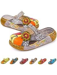 cd7465e2b50 gracosy Merceditas de cuña Chanclas Zapatos de Mujer de Cuero de Verano  Plataforma de Confort Zapatos Sandalias de…