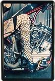 Unbekannt Blechschild 20x30 cm Tattoo Pin up Girl Erotik Motorrad High Heels Metall Schild