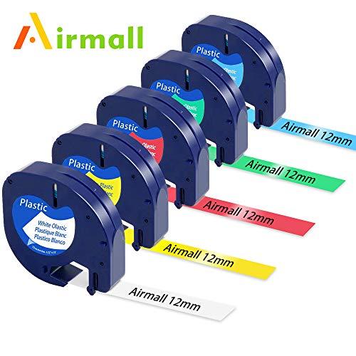 5x ersatz Dymo Letratag Etikettenband kompatibel Dymo LetraTag Kunststoff Schriftband Kassette Schwarz auf Weiß Gelb Grün Rot Blau 12 mm x 4 m/für DYMO LT-100H LT-100T LT-110T QX50 XR XM 2000 Plus