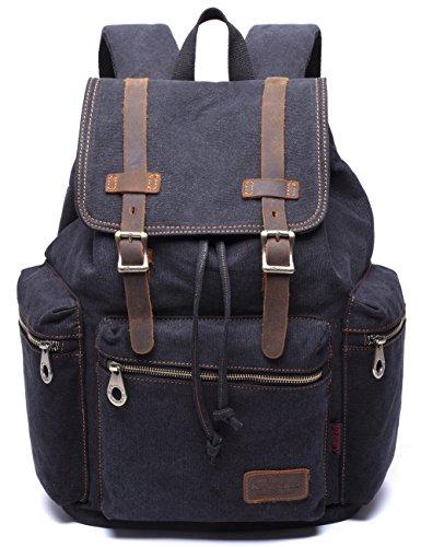 Aidonger Damen und Herren Vintage Stabiles Canvas und Leder Rucksack Retro Schulrucksack Backpack für Outdoor Sports Uni Reise (Dunkelblau)