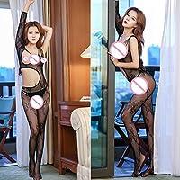Dapei Body erótico transparente de encaje Cuerpo de malla abierto Ropa de dormir Babydoll Ropa de dormir erótica siamesa Negro