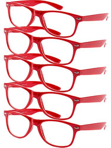 5 er Set EL-Sunprotect® Klar Glas Nerdbrille Brille Nerd Sonnenbrille Hornbrille Streber