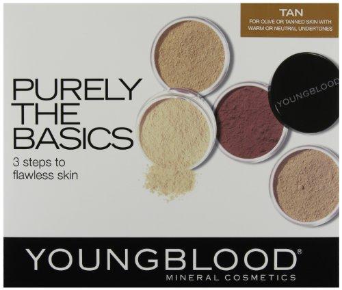 Youngblood, Purely Basics, Set di trucchi minerali, incl. 2 fondotinta, 1 fard, 1 polvere di riso, 1 pennello kabuki mini, 1 cipria, Tan