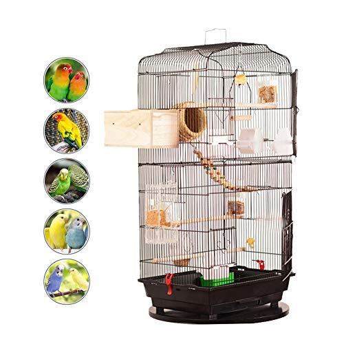DJLOOKK Gabbia Voliera Grande per Uccelli Pappagalli in Metallo E Legno con Ruote da Interno E Esterno