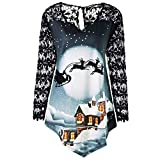 VRTUR Mode Weihnachten T-Shirts Damen O-Ausschnitt Langarm Lächelnd Weihnachtsmann Claus Drucken Oberteile Bluse (XXXXL,Y-Blau)