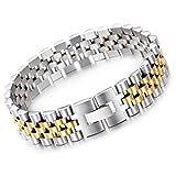 NELSON KENT Herren 150MM Breite Version Titan Stahl Einfaches Bügel Armband Silber Gold
