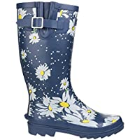 Cotswold Blue Daisy Festival Wellies - Comfortable Fit for Calves up to 40cm