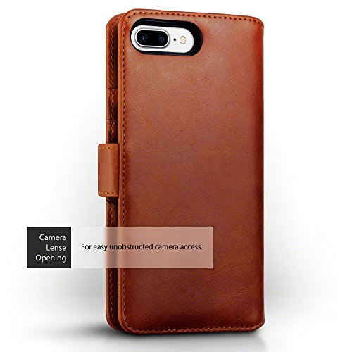 iPhone 8 Plus / iPhone 7 Plus Cover, Terrapin di Vera Pelle Della Cassa del Raccoglitore per iPhone 8 Plus Custodia Pelle, Colore: Nero Cognac