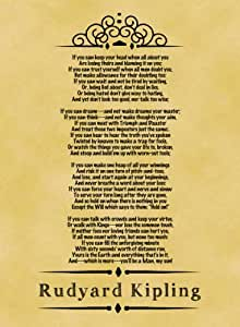 A4 Size Parchment Poster Classic Poem Rudyard Kipling If ...