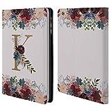 Head Case Designs Offizielle Nature Magick K Blumen Monogramm Blumig Gold Brieftasche Handyhülle aus Leder für iPad Mini 1 / Mini 2 / Mini 3