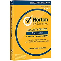NORTON - Norton Security Deluxe 2018 Licenza per 5 Dispositivi per 1 Anno - Licenza ESD (Electronic Software Distribution)