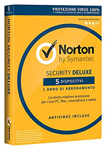 NORTON - Norton Security Deluxe 2018 Licenza per 5 Dispositivi per 1 Anno - Licenza ESD (Electronic Software Distribution)