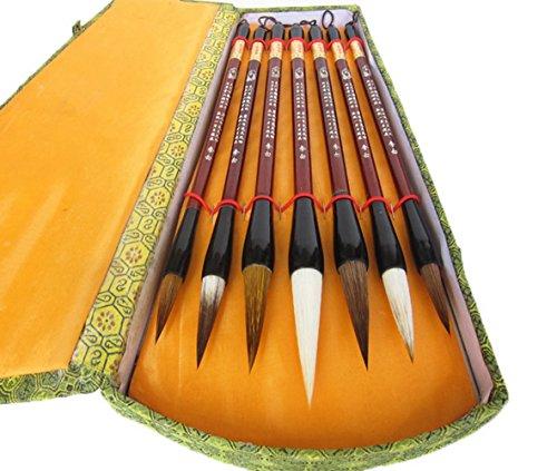 Boîte cadeau de calligraphie chinoise Brosse de 7 pièces Kanji Pinceaux