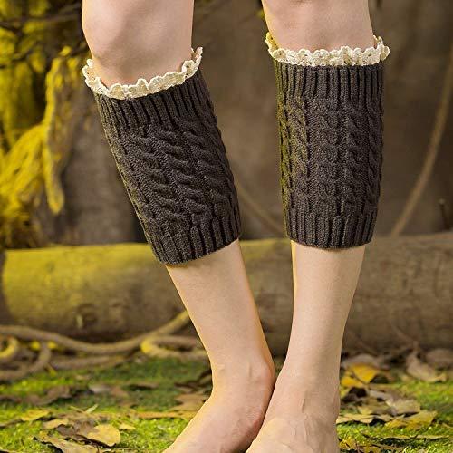 Scaldamuscoli confortevoli per donna leggings in maglia di lana con leggings caldi autunno e inverno in pizzo corto con 8 paia di calzini a torsione (colore: grigio scuro) ( colore : dark grey )
