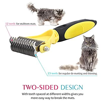 Neoteck Grooming Comb 3 Pieces Pet Grooming Dematting Comb Tool Kit Stainless Steel Double Sided Professional Dematting… 2