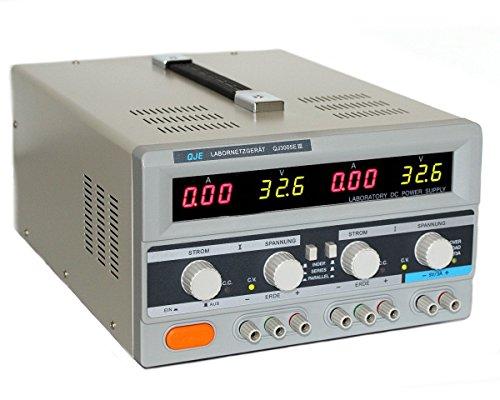 Komerci QJ3005EIII Regelbares Doppel Labornetzgerät Labornetzteil, Digitalanzeige, 2x 0-30V, 5A, 300W, Ringkerntrafo mit Einschaltstrombegrenzung