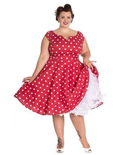 Hell Bunny anni 50 NICKY vintage a pois vestito stile rockabilly Rosso