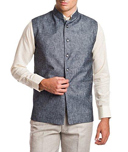 Wintage Men's Linen Blend Bandhgala Festive Grey Nehru Jacket Waistcoat