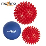 Massage Balls - Pack of 3 - Includes 2 x Spiky Massage Balls and 1 x Lacrosse Ball for Deep Muscle Massage - Perfect for Back, Legs, Feet & Hands - 1 Year Warranty.