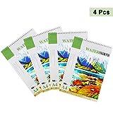 Aquarellpapier - Aquarellblock A4 - (21 x 29,7 cm) - 4er Set, 24 Blatt pro Block - 160 GSM Weißes Papier - Aquarell Sketchbook mit fester Rückwand - 96 Blatt Wasserfarben Papier