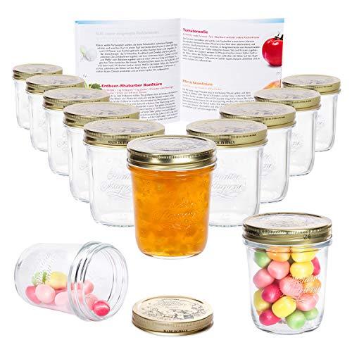MamboCat 12er Set Quattro Stagioni Glasdose 320 ml Compound im Deckel Vorrats-Behälter Aufbewahrungs-Dose Dessert-Gläschen Früchte-Becher Lebensmittel konservieren