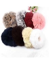 Wen Mei 5x Fuzzy Furry Artificial Rabbit Fur Faux Fur Hair Band Rope Hair Holder Wristband Hair Ring Hair Tie...