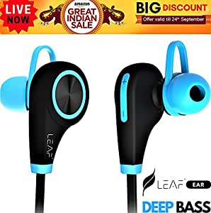 Leaf Ear Wireless Bluetooth Earphones with Mic (Cool Blue) Compatible with Iphones, Ipads and other Android Devices