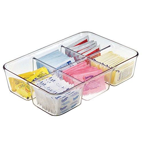 mDesign Caja con compartimentos para la cocina – Caja para infusiones de plástico para la encimera o los cajones – Organizador de cajones versátil – transparente