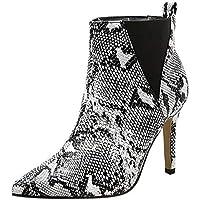 Zolimx Stiefeletten Damen Colorblock Serpentine High Heel Ankle Boots Frauen Pointed Toe Stilettos Stiefel Mode Sexy Sneaker Spitzschuh Stilettos Schuhe