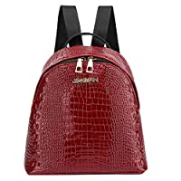 Lazzboy Bag Women Ladies Travel Student Alligator Crocodile Skin Pattern School Bags Backpack Mini Small Daypack