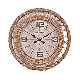 BAIF ModRetro Reloj Estilo Europeo Vintage Nostálgico Cuerda de cáñamo Reloj de Pared Café Números árabes Decorar Madera Reloj de Silencio Dormitorio de la Sala Estudio Estudio- 50 cm Funciona co