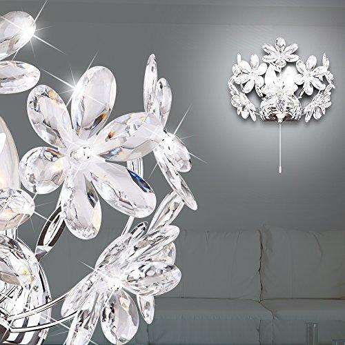 MIA Light Wandleuchte mit Blumen aus Acrylkristallen klar in chrom mit Zugschalter -