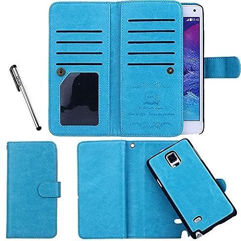Étui Porte-cartes en cuir Urvoix pour Samsung Galaxy Note 4, Portefeuille, 2en 1amovible magnétique Coque arrière pour Galaxy Note4N9100 bleu