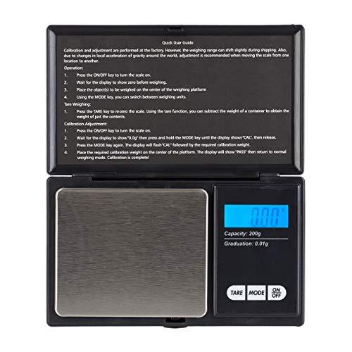Relaxdays Digitale Feinwaage, bis 200 g, 0,01 g Einteilung, Tara- & Auto-Off-Funktion, 6 Einheiten, Grammwaage, schwarz