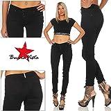 Buena Vista Damen Jeanshose Malibu Stretch Twill Jeans m. dekorativer Knopfleiste Black XL