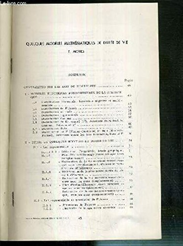 QUELQUES MODELES MATHEMATIQUES DE DUREE DE VIE - TIRE A PART - REVUE DE STATISTIQUE APPLIQUEE 1966 VOL XIV N°1