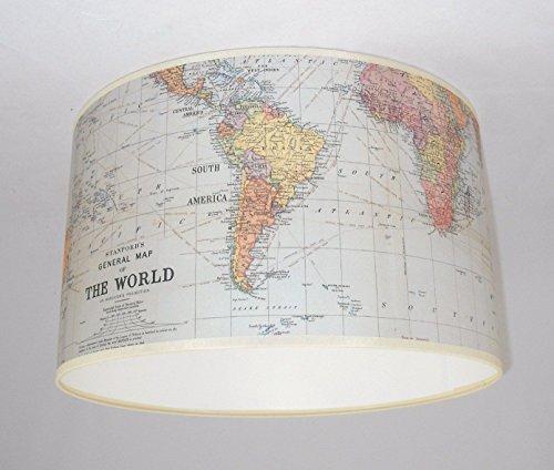 Handgemachte Lampenschirm 33cm - Cavallini Weltkarte/Atlas Papier