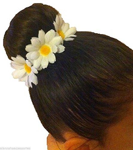 WHITE DAISY FLOWER BUN RING GARLAND SCRUNCHIE by ALANNAHS ACCESSORIES
